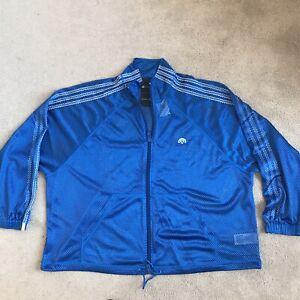 Adidas Alexander Wang AW Mesh Track Jacket Blue 3-Stripe Full Zip CV5288 Sz L