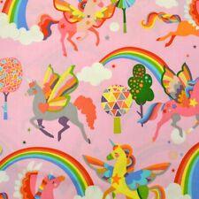 1m Magic Rainbow Shine in Pink- Alexander Henry Fabric PER METRE unicorns pin...
