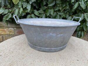 Vintage Galvanised Garden Planter Tin Bath 39 cm Diameter (1229)