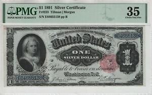 1891 $1 SILVER CERTIFICATE NOTE MARTHA FR.223 PMG CHOICE VERY FINE 35 (138)