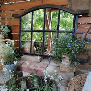 Large Antique Rustic Cast Iron Barn Window Restored Mirror