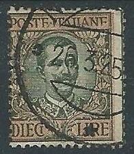 1910 REGNO USATO FLOREALE 10 LIRE VARIETà POSTE ITALIANE - U44-7