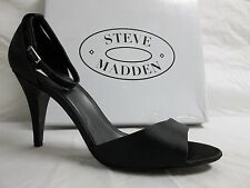 Steve Madden Size 10 M Walltz Black Satin open Toe Heels New Womens Shoes