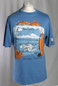 Ocean Pacific Vintage Camper Van Surfing T-Shirt Blue Men's Size XL VGC