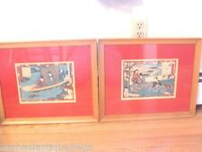 Pair Antique Japanese Wood Block Prints Signed