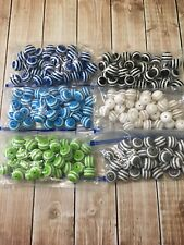 Blue/Green/White/Grey/Black Striped Bubblegum Bead Lot