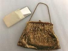 NOS New Old Stock Vintage Whiting & Davis Gold Metal Mesh Purse & mirror handbag