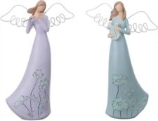 Set of 2 Medium Resin Glitter Angel Figurines #P8905