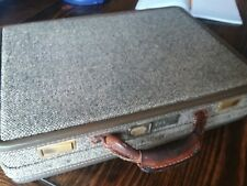 "Vintage Hartmann Luggage 18"" Hard Briefcase Tweed Belting Leather Attache"