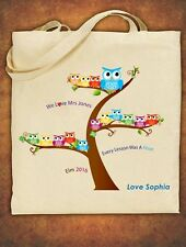 PERSONALISED Tote Bag Thank You Teacher School Gift Cotton 2018  - Owl Design