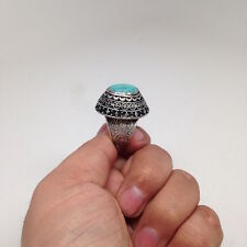 Afghan Turkmen Tribal Kuchi Handmade Oval Green Turquoise Inlay Ring,Size:8, R74