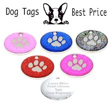 Personalised Engraved Glitter Dog Paw Tag Dog Cat Reflective Pet ID Tags