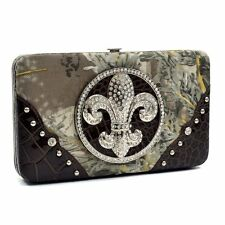 Realtree Deep Wallet Rhinestone Fleur de Lis Real Tree Camo Brown Croc Trim