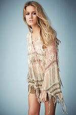 TOPSHOP KATE MOSS TASSEL FEATHER PRINT FESTIVAL BLOUSE TOP 8 36 4 £75!