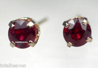 Red Ruby Stud Earrings Solid 14K Yellow Gold  0.59 cts  Pigeon Blood  4mm $795
