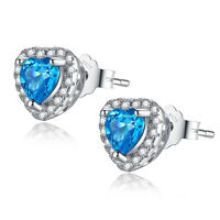 Heart Cut Created Blue Topaz 925 Sterling Silver Stud Earrings Gifts for Her