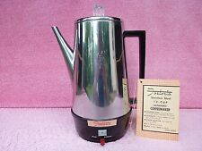 Vtg 1960s Fostoria Stainless Steel 12-Cup Automatic Percolator Coffee Pot Maker