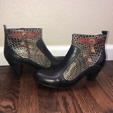 L'ARTISTE Spring Step Parfum Wm Black Leather Ankle Boot Booties Size 41 9.5-11