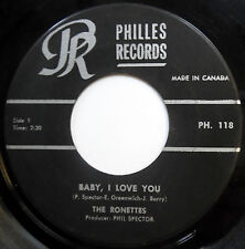 RONETTES 45 Baby I Love You / Miss Joan & Mr Sam GIRL GROUP Canada Press w3889