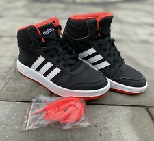 Adidas Youth Kids Hoops Mid 2.0 Basketball Shoe Sneakers Black/White/Red Size 4