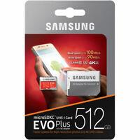 %100 Authentic Samsung EVO Plus 512GB UHS-I 4K HD Micro SD Memory Card + Adapter