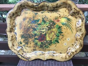 "Antique Large Toleware 31"" x 23 1/2"" Hand Painted Tray"