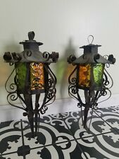 Vtg*60s* Spanish Revival* Gothic* lantern pendant light fixtures* patina* as is*