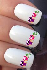 WATER NAIL TRANSFERS CUDDLING PINK & PURPLE OWLS ON BRANCH DECALS STICKERS *294