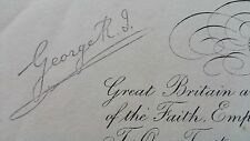 Royalty King George V Signed Military Document Signature Autographed Commission