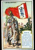 IMAGE CHROMO  / CHEVALIER en Armure & DRAPEAU / MOYEN-AGE / BANNIERE FEODALE
