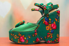 Vtg 70s Mod Green *Vibrant Floral* Stacked Disco Hippie Platform Wedge Heels 7