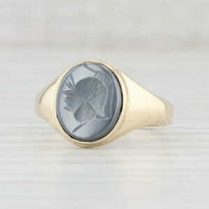 Intaglio Soldier Hematite Ring 9k Yellow Gold Size 9.5 Oval Gray Stone