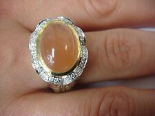 CHARLES KRYPELL 18K GOLD AND SILVER PEACH MOONSTONE & HALO DIAMONDS RING SZ 6.75