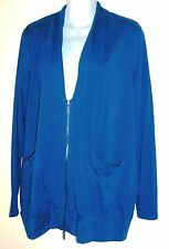 Kenneth Cole Casual Blue Stretch Knit Zipper Jacket Top Size M  NWT