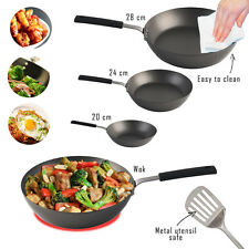 Carbon Steel Frying Pans Wok Salter Professional Induction Gas Electric Cooking