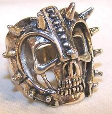 1 DELUXE ARMOR HELMET SKULL HEAD SILVER BIKER RING BR37 mens  jewelry rings new