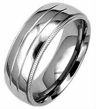 TITANIUM Highly Polished 8mm wide BAND RING with ACCENTS, size 8 - in Gift Box!