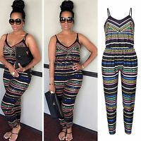 Women Boho Sleeveless Clubwear Playsuit Bodycon Party Jumpsuit Romper Trousers