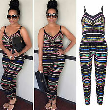 Women's Boho Sleeveless Playsuit Clubwear Jumpsuit Romper Summer Long Trousers