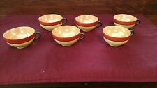 Vintage Set of 6 Tea Cups ~ BONE CHINA ~ RED, BLACK & GOLD ~ JAPAN