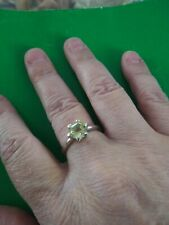 Green Gold Quartz Sterling Silver Ring, 1.61cts, Size 8.