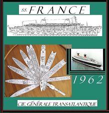 s/s FRANCE 1962 French Line: Superb, Complete Retractable GA Deck Plans/Profile