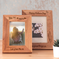 Personalised Mothers Day Gift Wooden Oak Frame Laser Engraved Gift Idea