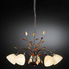 Honsel Krone Canasta Rostfarbig Goldfarbig 5-flg Blattdekor Antik Leuchter Lampe