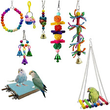 bluesees Bird Toys, Parrot Toys 8pcs Play Set for Birds, Hanging Colorful Swing