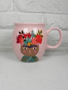 Prima Design Ceramic Coffee Tea Mug FRIDA KAHLO Cat Pink Multi 20oz New