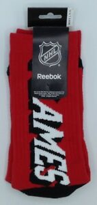 NHL Calgary Flames Reebok Men's Team Logo Crew Socks NEW