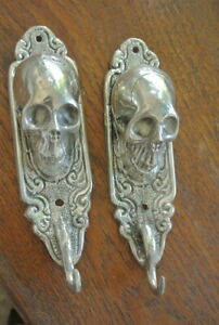 """2 small silver plated SKULL HOOKS BRASS old vintage style antique 6 """" long B"""