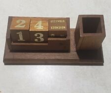 Vintage Calendar Wooden Block Desk Vintage Perpetual Decor