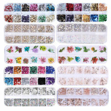 Nail Art Rhinestones AB Color Silver Glitter Crystal Gem 3D Nail Tips Decoration